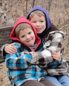 Samuel and Isaac out on a winter hike.